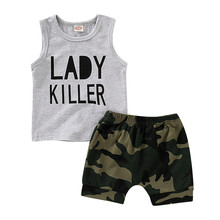 Infant Baby Boy Kid Letter Printed Vest Tops+Camouflage Shorts Outfits Set New Baby Girls Clothing For Baby Boys  HOOLER kid outfits round neck letter pattern tops in grey
