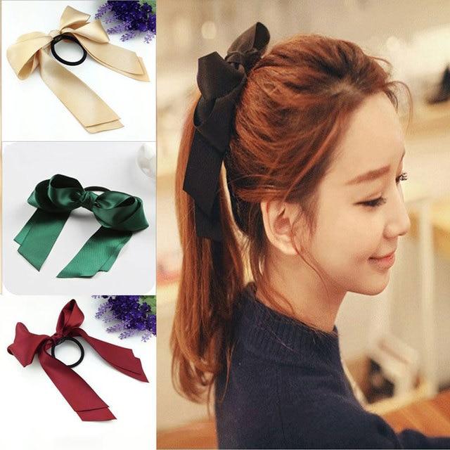 3 pcs Brand Designer Headwear Solid Hair Ribbons Band Rope Scrunchie  Ponytail Holder Silk Ribbon Bow e66ee4b140b