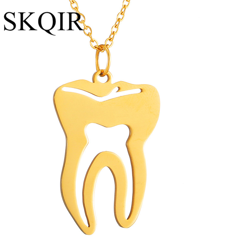 SKQIR Cute Tooth Pendant Necklace Fashion Medical Necklaces Gold Stainless Steel Chain Women Office Lady Imitation Jewelry Gifts retro stainless steel wolf tooth pendant necklace men jewelry