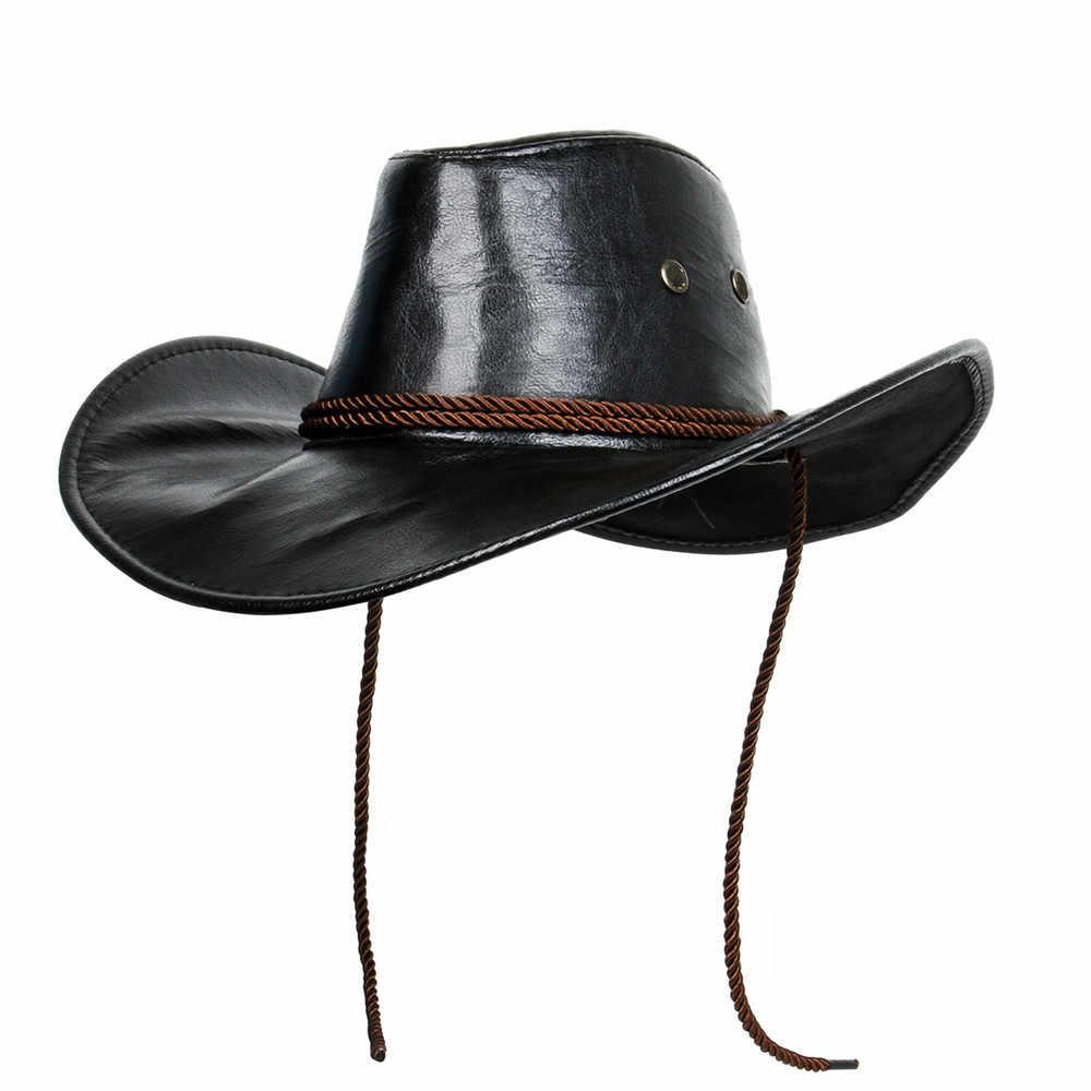 6ef0db0218678 Game Red Dead Redemption 2 Cowboy Hat Cos Morga Western Vintage Leather Cowboy  Hat Punk Cap