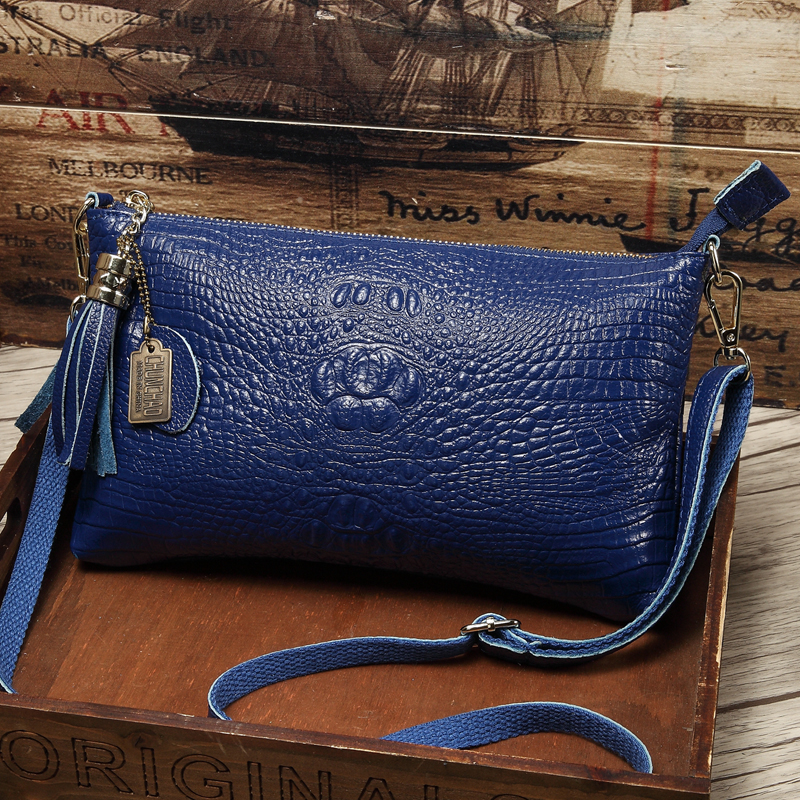 97f2a436bd Detail Feedback Questions about Women s Genuine Leather Alligator Crossbody  Cowhide Crocodile Messenger Bags Female Small Shoulder Bag Clutch Wristband  ...