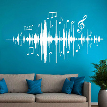 Gabriel Bloor Music Audio Note Wall Decal Musical Frequency Wall Stickers Vinyl For Bedroom Kids Room Nursery Home Decor DA36 все цены