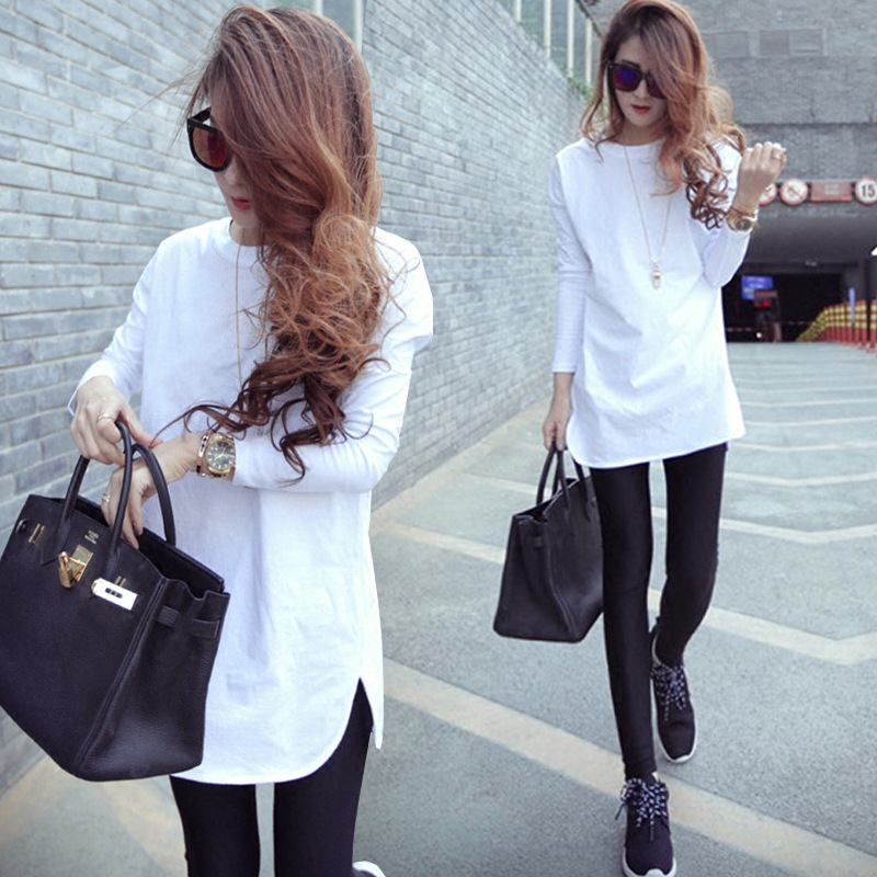 2018 Feminine T-shirt Spring Autumn Cotton Long Sleeve T Shirt For Women Basic Tee Slit Shirt Femme White Black Solid Plus Size