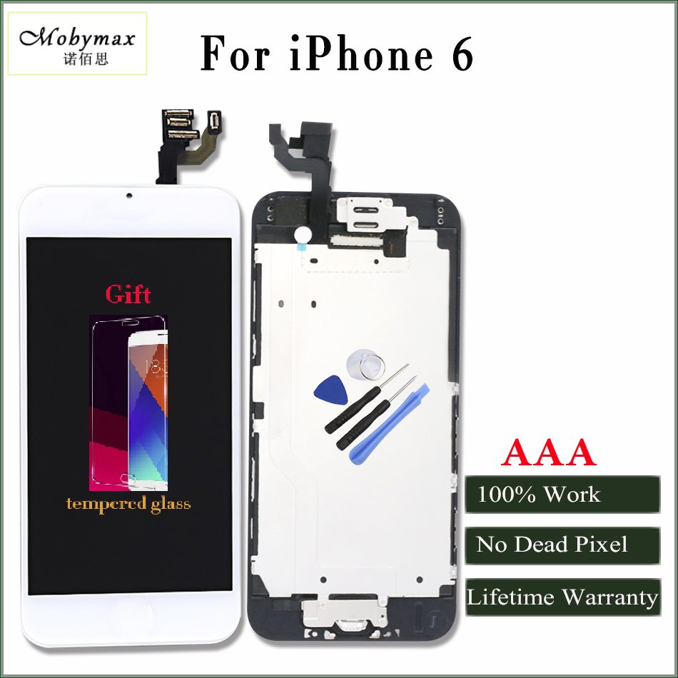 Moybmax AAA Quality LCD Display for iphone 6 Touch Screen Digitizer full Assembly with front camera Earspeaker +gifts