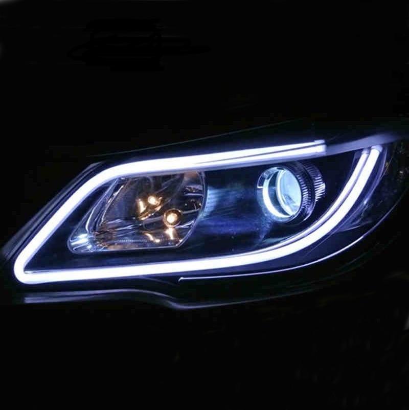 2017 2pcs 60cm 12V LED car day light flexible DRL automobiles turn signals light auto cob