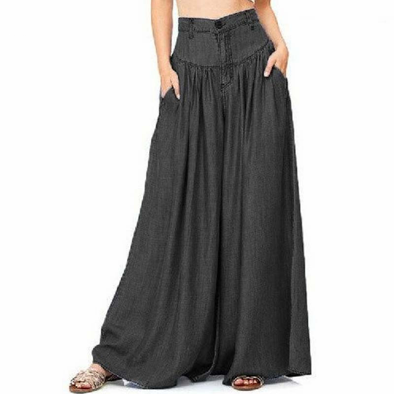 Trousers Women High Waist Long Harem Pants Pockets Loose Solid Spring Pleated Denim Blue Wide Leg Pants Party Palazzo Plus Size