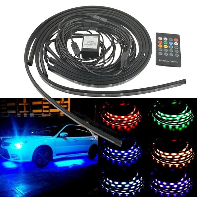 4x Coche RGB LED Luz de Tira de 5050 SMD LED Luces de Tira bajo Tubo Del Coche Del Sistema Underbody Underglow Kit de Tubo de Luz de Neón Con remoto