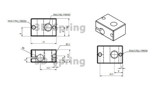 10Pcs Heater Block For E3D V6 2016 New 3D Extruder HotEnd For PT100 sensor cartridge All-Metal Aluminum 23x16x12 23*16*12mm