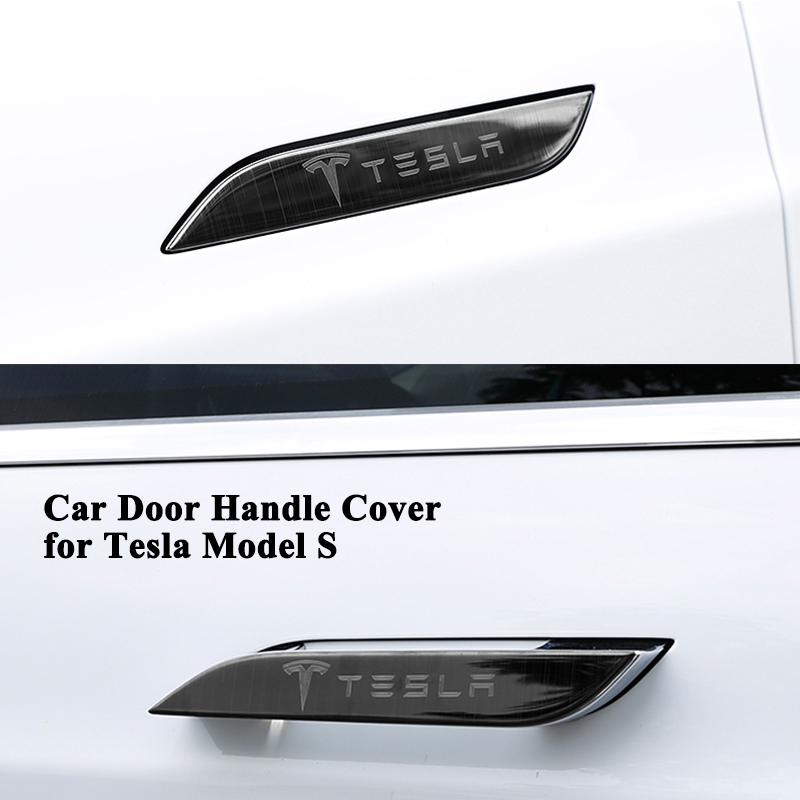 4pcs/set Styling Car Door Handle Covers Logo Decoration Stainless Steel Sticker Protector Car Accessories only for Tesla Model S