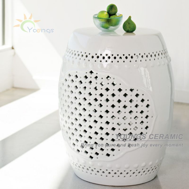H18inches Chinese White Lattice Ceramic Garden Stool For