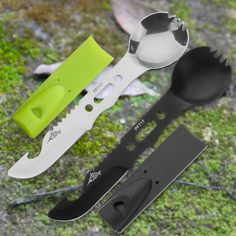 Многофункциональная посуда для кемпинга, ложка, вилка, открывалка для бутылок, портативный инструмент для безопасности и выживания, прочный набор для выживания из нержавеющей стали