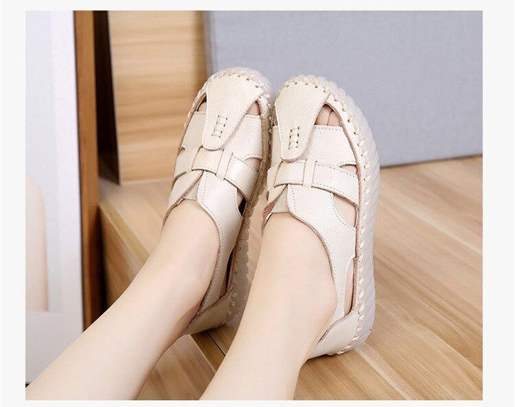 6ee6af3c SWONCO damskie sandały 2018 lato prawdziwej skóry skórzane grube podeszwy buty  damskie Sandały gladiatorki damskie płaskie antypoślizgowe Retro kobieta  buty ...