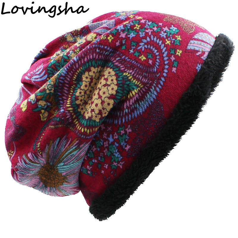 LOVINGSHA Warm Women   Skullies     Beanies   Fashion Brand Autumn Winter Vintage Design Dual-use Hats For Ladies Girl Scarf HT058