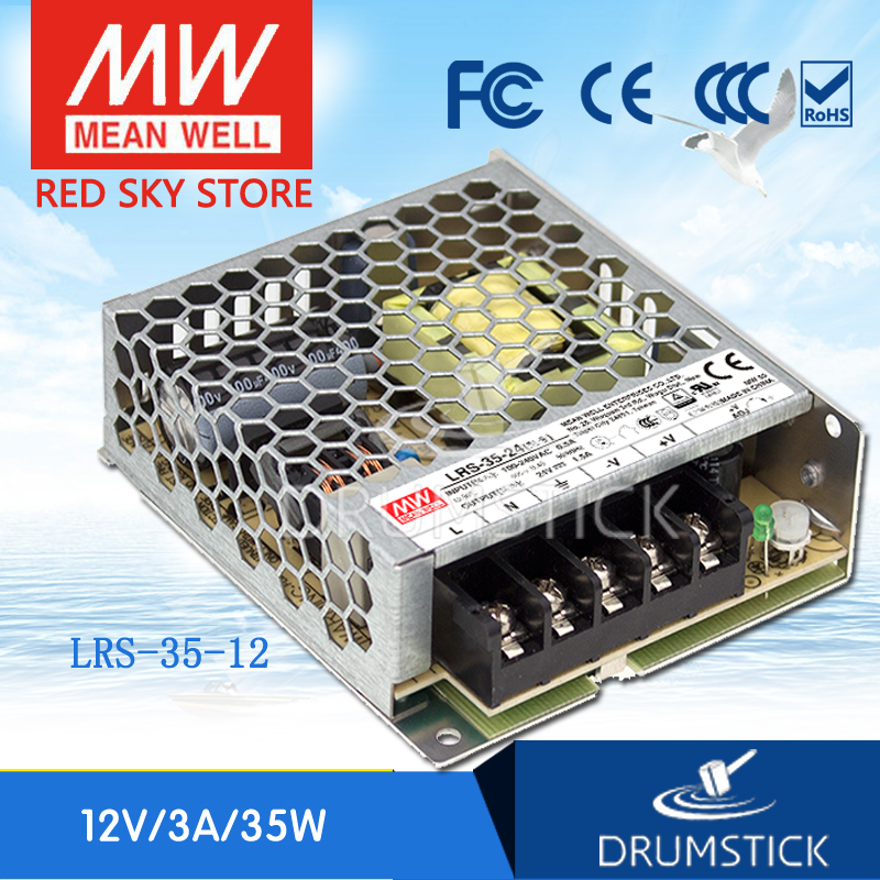 (12.12)MEAN WELL LRS-35-12 12V 3A meanwell LRS-35 12V 36W Single Output Switching Power Supply mean well original se 1000 12 1000w 83 3a 12v single output meanwell power supply 3 years warranty