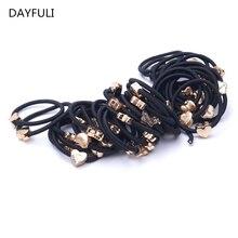 10PCS Lot Hair Rope Mujeres Negro elástico Rubber Band Ponytail Holder Diadema Nuevo