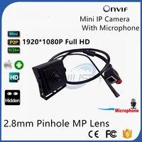 2.8 MM Pin hole Lens 1080 P HD 2MP IP Audio Video 2.0 Megapixel Mini Telecamera ip Onvif Microfono Rete P2P Home Security sistema