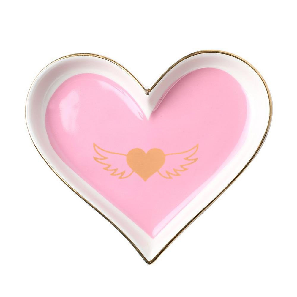 Креативный в форме сердца керамический поднос для обеденной тарелки подарок на День святого Валентина для сладкой посуды Ювелирная тарелка десертные ресторанные Держатели - Цвет: pink wing