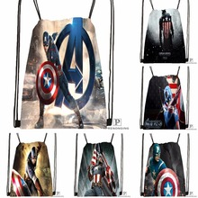 Custom Captain America Avenger Drawstring Backpack Bag for Man Woman Cute Daypack Kids Satchel Black Back