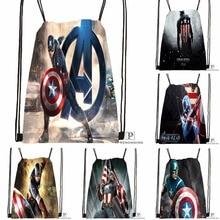 Custom Captain America Avenger Drawstring Backpack Bag for Man Woman Cute Daypack Kids Satchel (Black Back) 31x40cm#180531-01-06