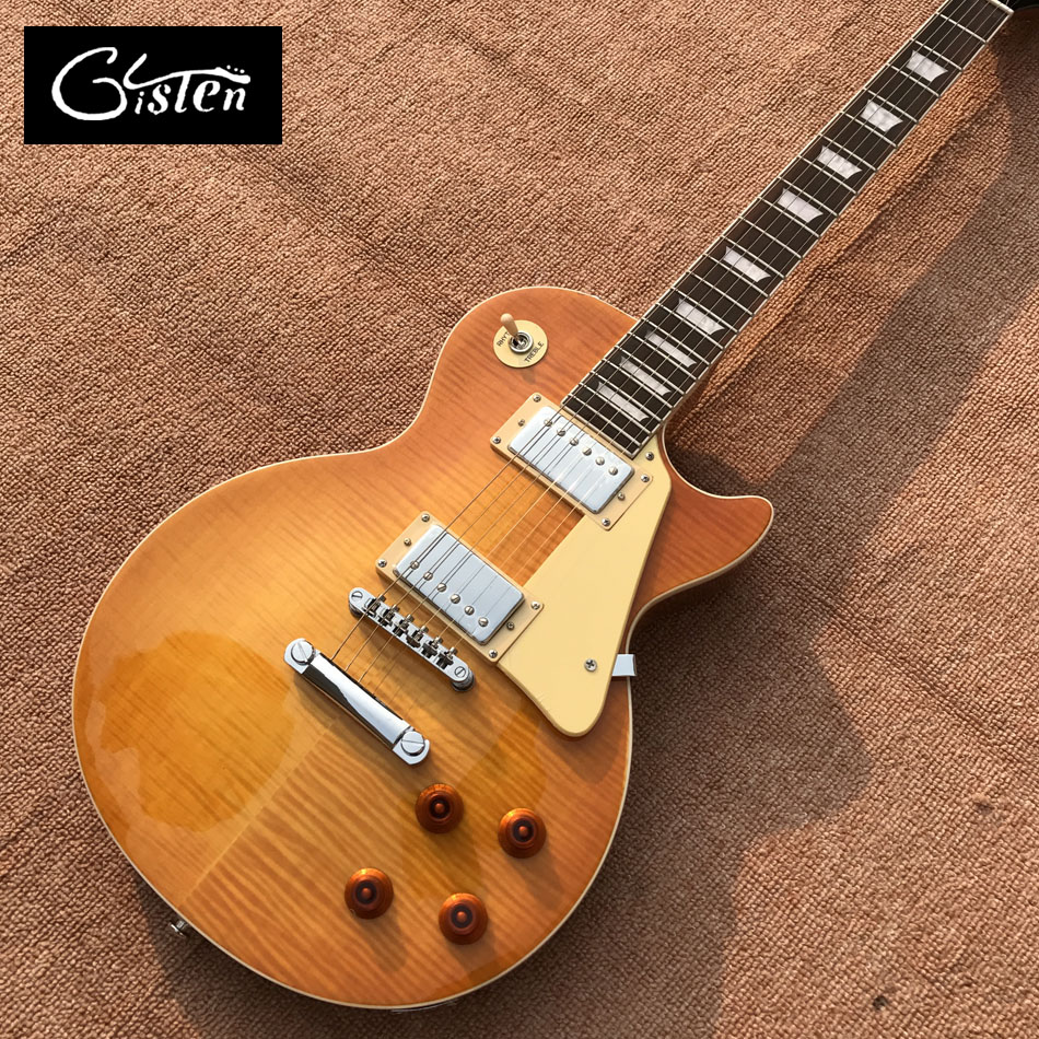 Custom Shop NEW LP Standard 1959 R9 electric guitar, Flame Maple Top, Rosewood Electric guitar with hard case, Free shipping