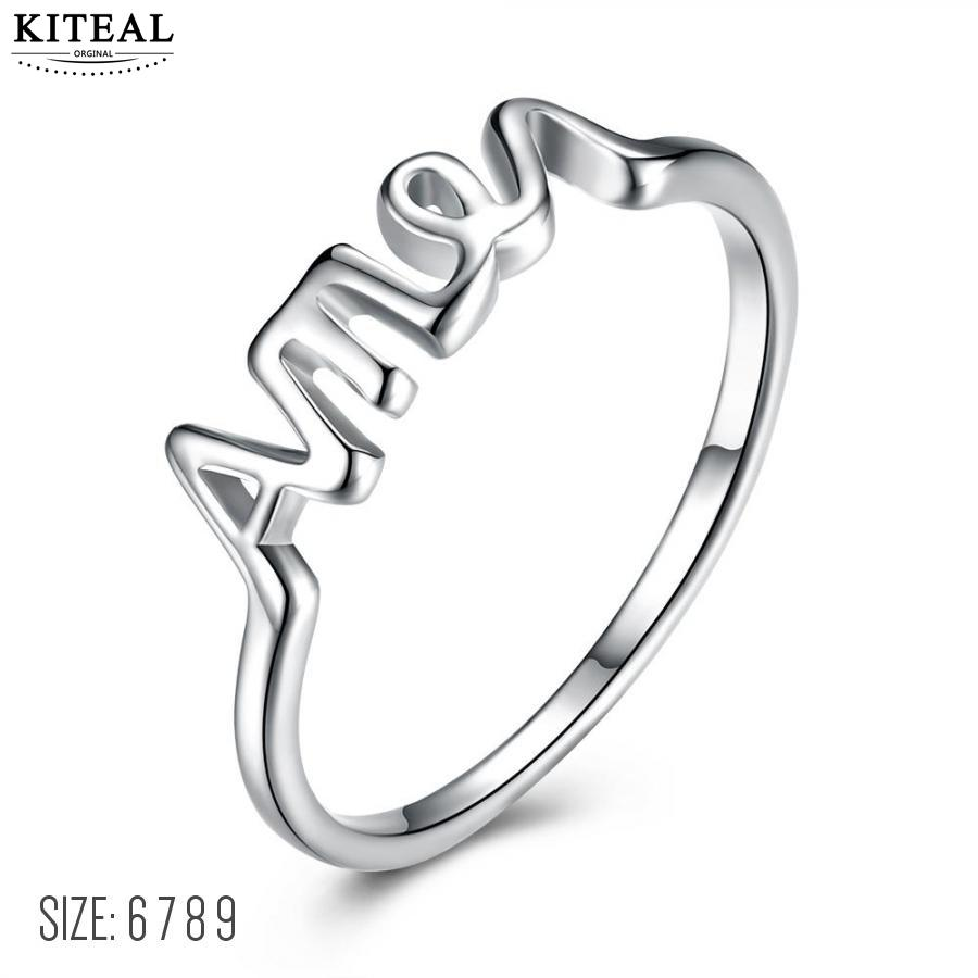 KITEAL Gorgeous silver plated size 6 7 8 9 Engagement rings for female AME alphabets letter ring men horloge