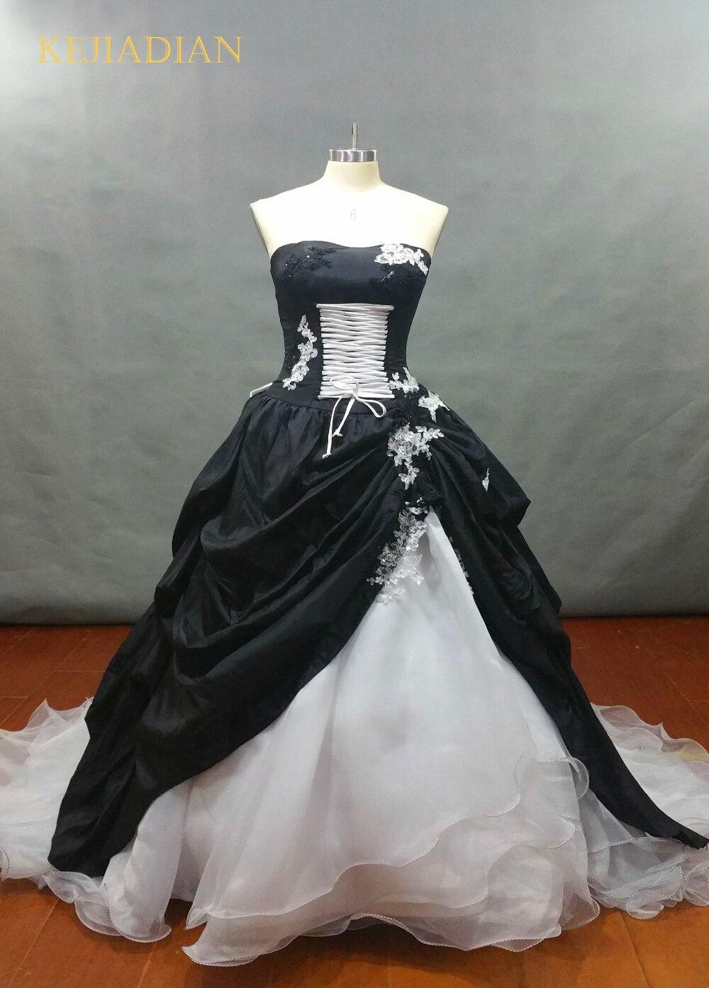 White and Black Wedding Dress 2019 Gothic Ball Gown Vestidos De Novia Bridal Dress Custom Classic