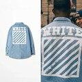 2016 new arrive fashion brand men kanye west Off White hip hop jackets denim coat thrasher clothing stripe 13 badge windbreaker
