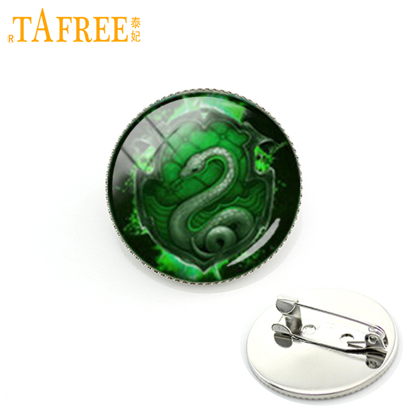 TAFREE Cool green snake picture men jewelry brooch school badges of slytherin hogwarts potter fans gifts wedding pin KC331