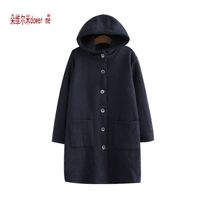 dower me Winter Women Jacket 2017 New Women Hooded Warm Medium long Down Cotton Coat Solid color Slim Large size Female Parkas winter women down jacket hooded thick warm cotton coat large size new style casual jacket slim long sleeve medium long coat 2580