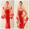 Бесплатная Доставка 2017 Горячие Продажа Простой Red One Layer Bridal Veil Кружева Аппликация Край Фата Высокое Качество