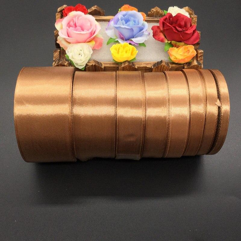 25 ярдов 30 # коричневый шелковые, атласные ленты Свадебная вечеринка украшения подарочной упаковки Рождество Новый год одежда Вышивание Тка...