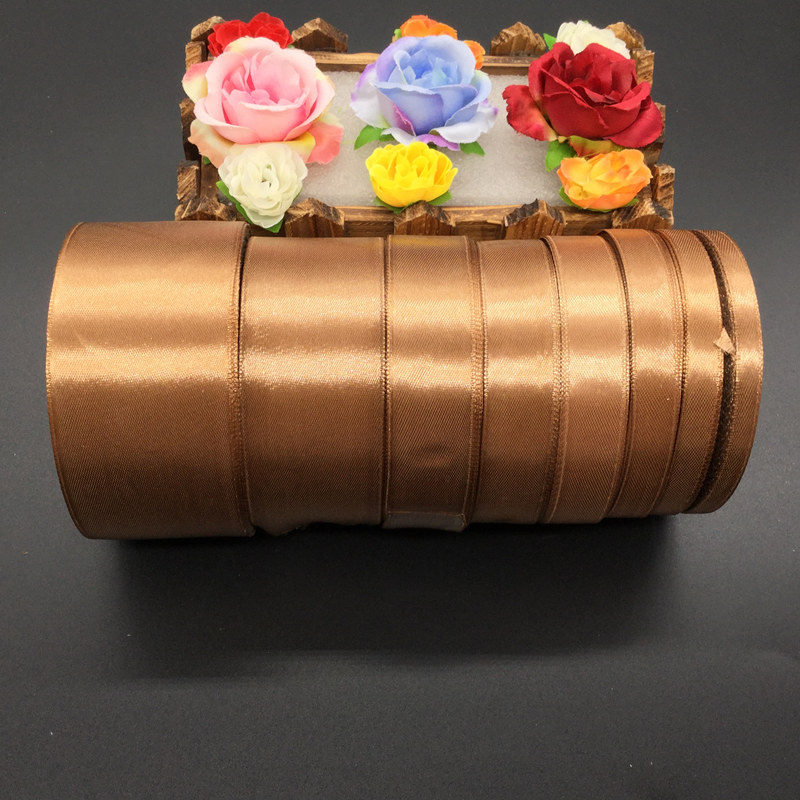 25 Yards 30# brown Silk Satin Ribbon Wedding Party Decoration Gift Wrapping Christmas New Year Apparel Sewing Fabric gift Ribbon