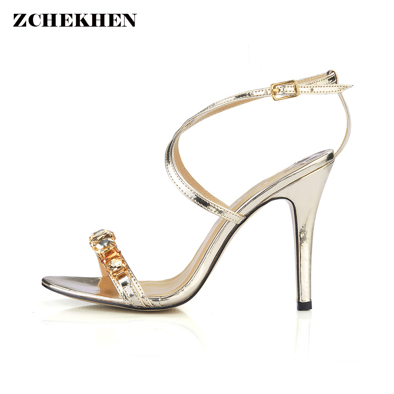New crystal summer women high heels sandals shoes woman party wedding ladies pumps ankle strap buckle stilettos sexy shoes new arrival black brown leather summer ankle strappy women sandals t strap high thin heels sexy party platfrom shoes woman