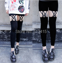 Free shipping punk rocker velvet flannel knee cutout pants legging Retro Rockabilly