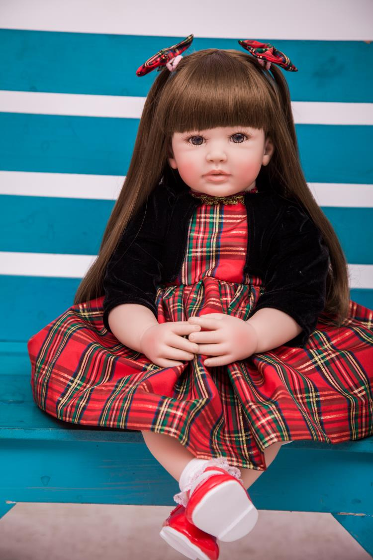 Pursue 24/60cm Princess Girl Reborn Doll Baby With Brown Long Hair Beautiful Dress Cotton Body Vinyl Limbs Great Gift For Child pink wool coat doll clothes with belt for 18 american girl doll