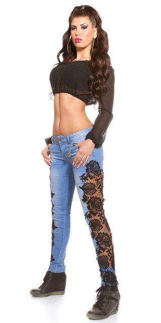 2018 más tamaño de encaje empalmado Skinny Jeans Mujer Sexy moda parte delantera trasera Color claro pantalones largos lápiz de encaje vaqueros 3xl