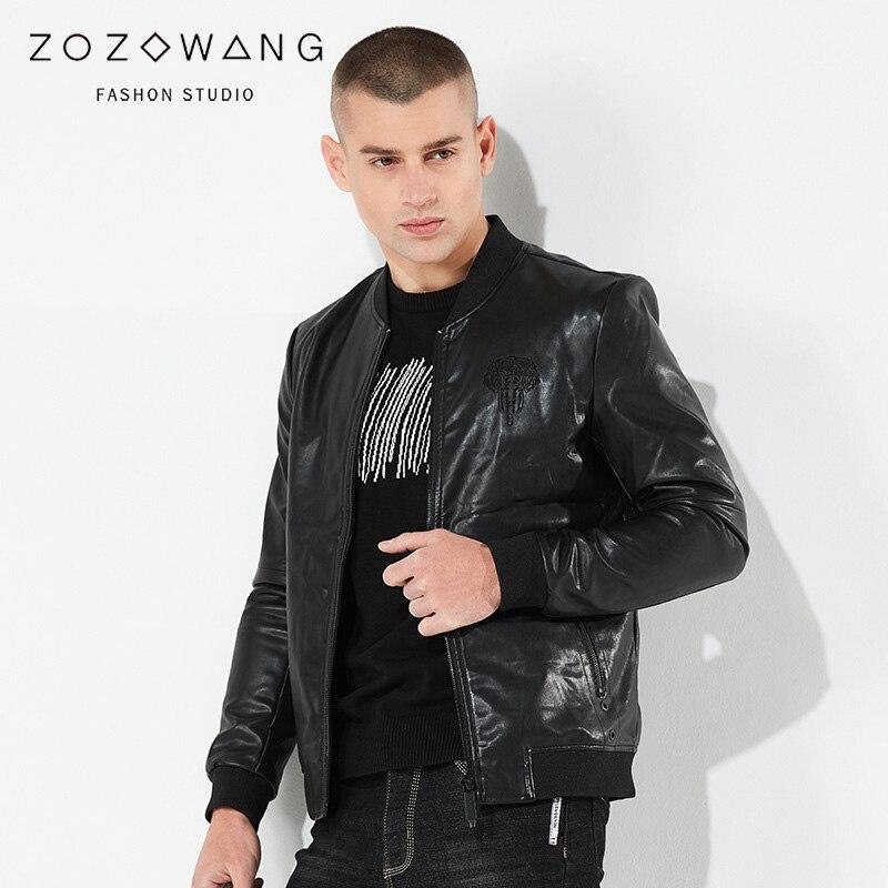 ZOZOWANG 2019 printemps été veste hommes en cuir veste rétro moto veste o-col haute qualité manteau PU cuir grande taille - 3