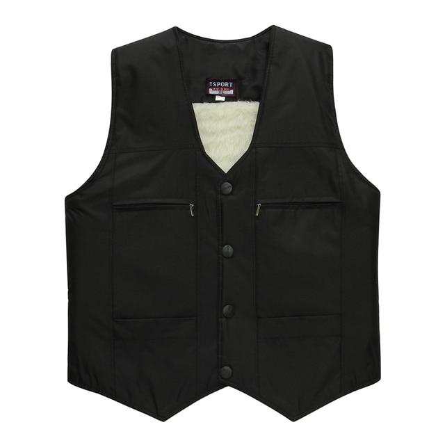 Man Elegant Herringbone Vest Elderly Men's Black Gilet Thicken Warm Fleece Vests Male Slim Fit Waistcoat Sleeveless Coats XL 2XL