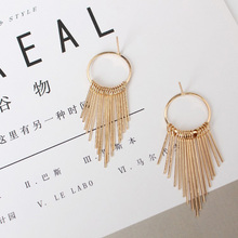 Dangle Earrings For Women Jewelry Gold Silver Color Tassel Earring Long Drop Eardrop Statement Hollow Circle Fashion Accessories