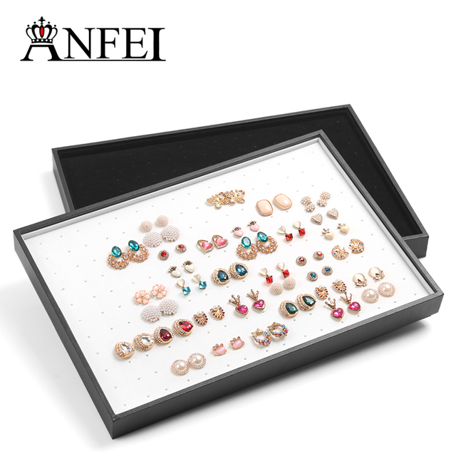 Exquisite Jewelry Display Tray Silver With Leather & Fabric Earrings Display Tray Exhibitor Case 176 Slots Storage Decoration
