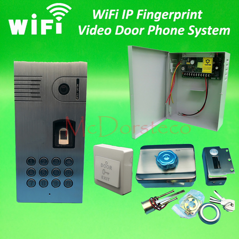 Wifi ip fingerprint video door phone intercom kit metal for Door intercom