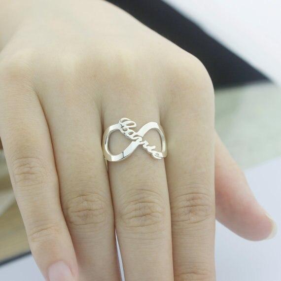 2d3cb238b8d2 Anillo infinito nombre personalizado Plata de Ley 925 infinito placa de  identificación anillo moda inicial hecho a mano regalo de aniversario  personalizado ...