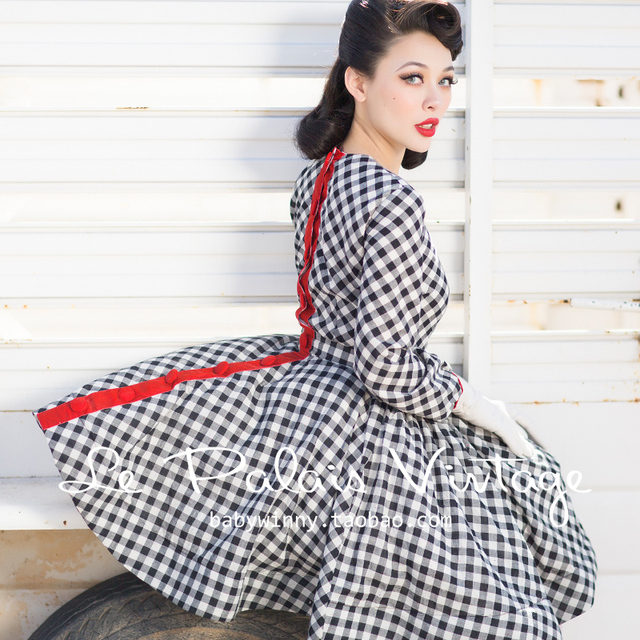 40- le palais vintage 50s summer women gingham long sleeve circle swing  dress rockabilly pinup vestidos plus size dresses jurken 9ddcf0c14157