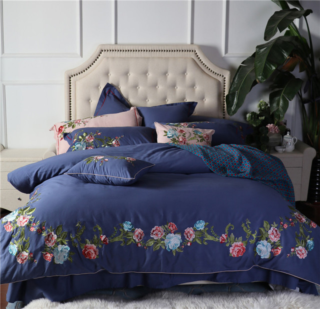 IvaRose 4/7pcs flower pink blue bed linen designer bedding sets Egyptian cotton bedding set housse de couette quilt cover set