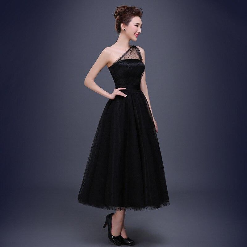 Vestido de Noche aclaramiento Banquete Sexy Negro de Un Hombro ...