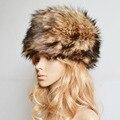 Moda Senhora Russa Faux Pele De Coelho Malha Cap Mulheres Inverno Quente Beanie Hat Tampas De Pele Das Senhoras do Sexo Feminino Chapelaria Gorra F1