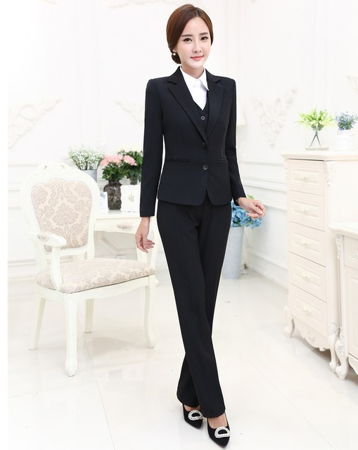 Formal OL Styles Professional Business Women Suits 3 pieces With Jackets + Pants + Vest Female Trousers Sets Uniforms Blazers