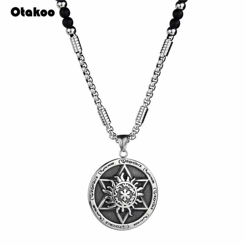 Otakoo nowa moda naturalne David gwiazda żydowskiej wisiorek naszyjnik czarny koraliki łańcuch mężczyźni kobiety unikalne szczęście wisiorki biżuteria