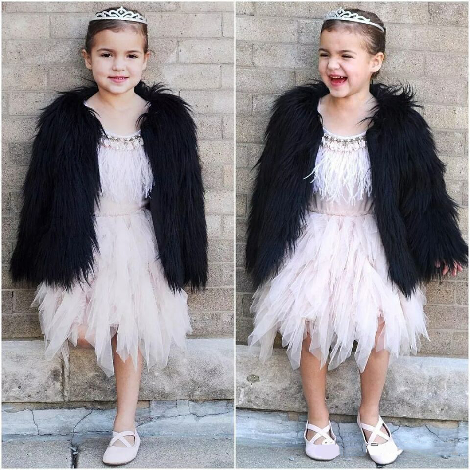 Girl Faux Fur Coat Fashion Winter Jacket For Girls Outwear Jackets For Children Parka Baby Girl Snowsuit Kids Faux Fox Fur Coat