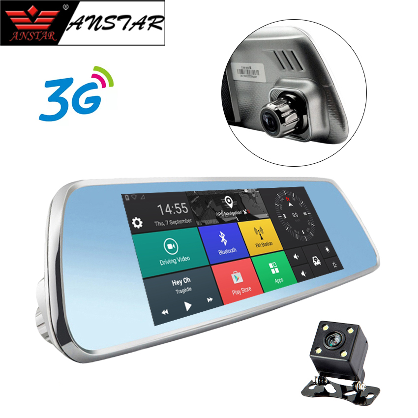 ANSTAR 7'' 3G Car DVR Video Mirror Android GPS FHD 1080P Bluetooth WIFI Car Camera Night Vision Cycle Video Recorder Registrar aumohall 7 tft lcd mp5 car rear view mirror monitor auto vehicle parking rearview monitor sd usb mp5 for reverse camera